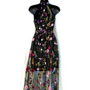 Betsey Johnson Floral Mock Neck Maxi Dress SZ 2